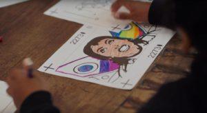 Children's artwork on Meg Myers' running up that hill