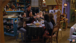 The gang gather for the first Friends Thanksgiving episode