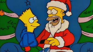 Bart and Homer Simpson in festive mood