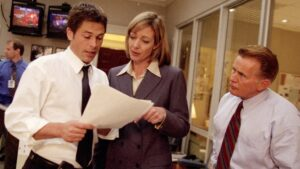 Rob Lowe, Allison Janney and Martin Sheen in The West Wing