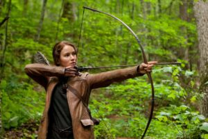 Katniss with a bow and arrow
