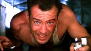 John McClane in an air vent.