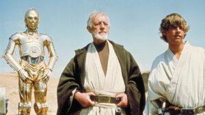 C-3PO, Obi Wan and Luke Skywalker.
