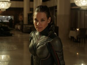 Evangeline Lilly as female superhero Wasp in Ant-Man and the Wasp.