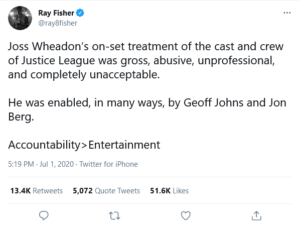 Ray Fisher tweet on Joss Whedon abuse