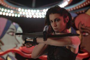 Mary Elizabeth Winstead as female superhero Huntress in Birds of Prey.