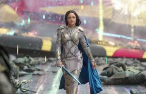 Tessa Thompson as female superhero Valkyrie in Thor: Ragnarok.
