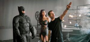 Zack Snyder directing Batman (Ben Affleck) and Wonder Woman (Gal Gadot).