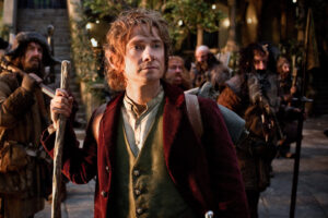 Bilbo trying to figure out if he is filming film 1, 2 or 3.