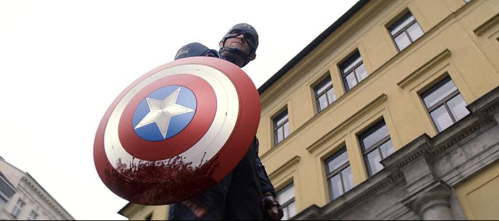 John Walker with a bloody shield