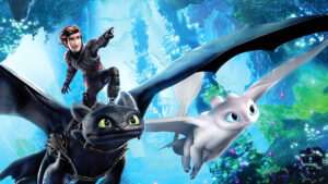 Hiccup riding Toothless alongside a Lightfury in How to Train Your Dragon 3.