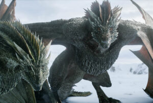 Drogon and Rhaegal, dragons from Game of Thrones.