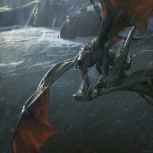 Dragon vs. dragon, artwork from The World of Ice and Fire.
